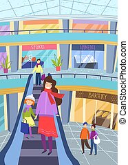 Young mother shopping with her little daughter holding hands as they descend on an indoor escalator in a shopping mall