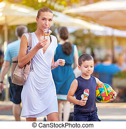 Young Mother Son Ice Cream