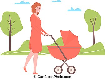 Young mother walks in the park with a stroller
