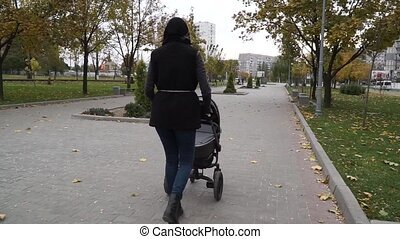 Young mother with a baby carriage goes in the park in autumn