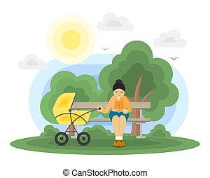 Young mother with a baby carriage in a park