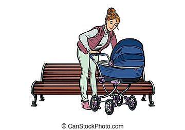 young mother with a baby carriage, park bench