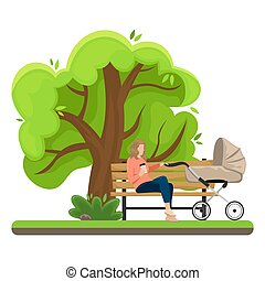 Young mother with a baby carriage sitting on a bench in the Park. Flat vector illustration. The girl with the paper Cup of coffee.