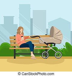 Young mother with a baby carriage sitting on a bench in the Park. Flat vector illustration. The girl with the paper Cup of coffee. City view.