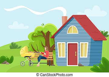 Young mother with a baby carriage sitting on a bench near the village cottage. Flat vector illustration. The girl with the paper Cup of coffee. Countryside landscape.