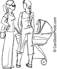 young mother with a pram and a girlfriend