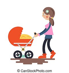 Young Mother with Baby Carriage - Pram Vector Isolated on White Background