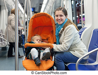mother with baby in stroller inside metro