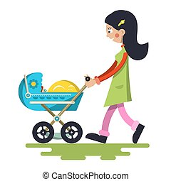 Young Mother with Baby on Pram. Vector Lady Cartoon Isolated on White Background.