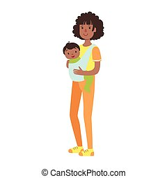 Young Mother With Baby Son In A Sling, Illustration From Happy Loving Families Series