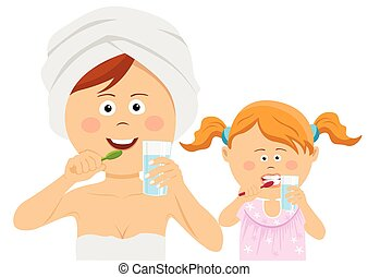 Young mother with her little daughter brushing their teeth