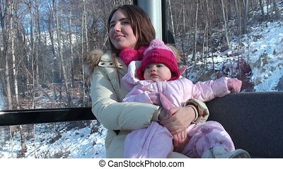 young mother with her little daughter ride on the cable car