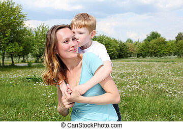 mother with her son outdoors