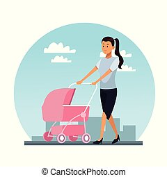 Young mother with pram
