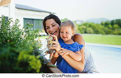 Young mother with small daughter outdoors in backyard garden, spraying plants.