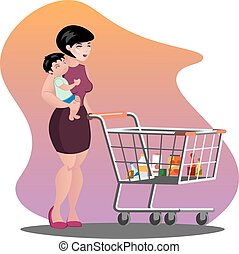 Young mother with son baby toddler in a sling pushing supermarket shopping cart full of groceries.