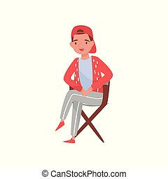 Young movie producer or filmmaker sitting in wooden chair. Man with happy face expression. Flat vector illustration