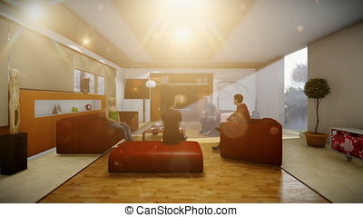 Young multiethnic friends socialising in villa living room, panning