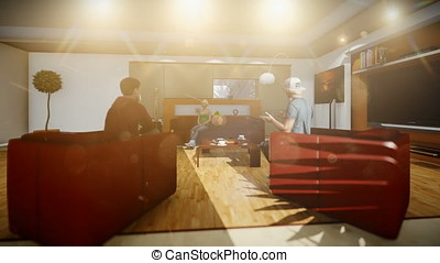 Young multiethnic friends socialising in villa living room,...