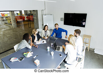 Young multiethnic team working in a modern office