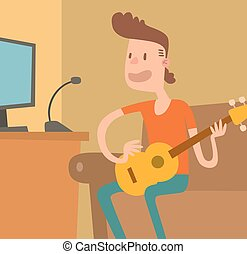 Young musician plays on the electric guitar vector illustration