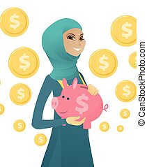 Young muslim business woman holding a piggy bank.