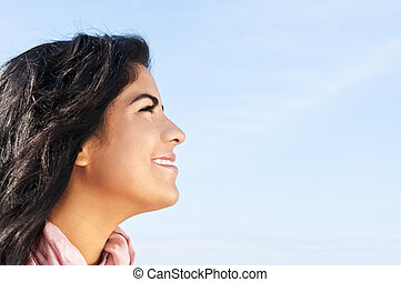 Young native american woman - Portrait of beautiful smiling ...