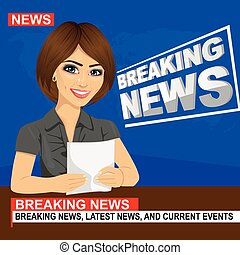 Young news anchor woman reporting breaking news sitting in...
