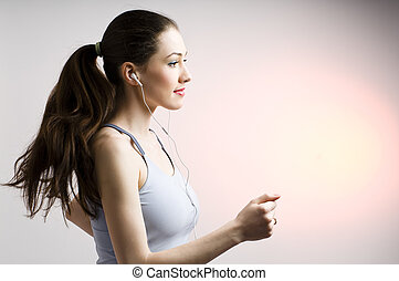 nice running girl - young nice running girl listens too ...