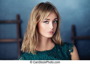 Young nice woman, closeup portrait