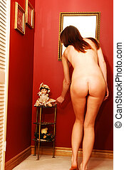 Young nude woman for red - A young pretty nude woman...