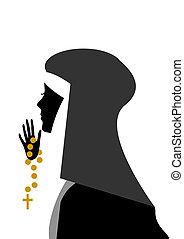 nun -  young nun who pray