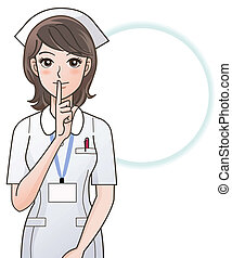 Young nurse asking silence, ordering silence touching with...