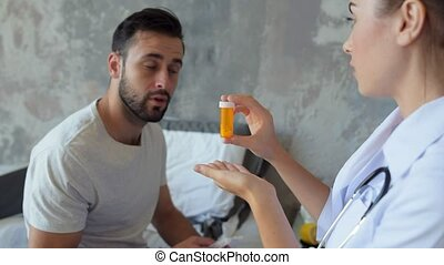 Young nurse giving prescription on patient with flu