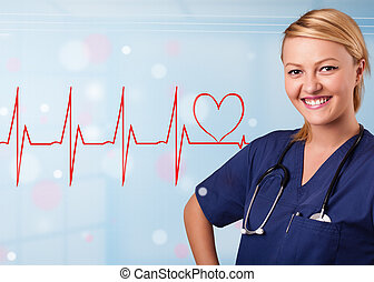Young nurse listening to abstract pulse with red heart -...