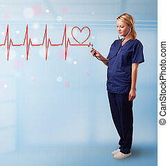 Young nurse listening to abstract pulse with red heart - ...