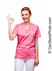 young nurse showink ok sign