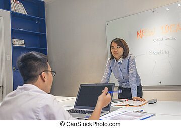 Young office employee discuss in the training course