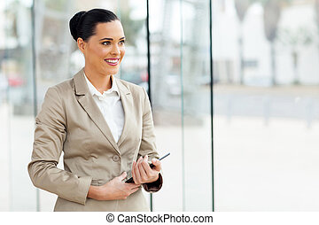 young office worker holding tablet computer