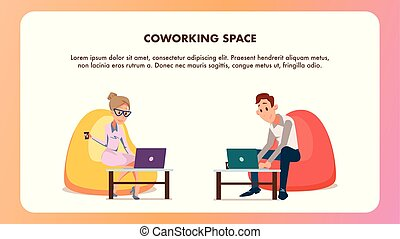 Young Office Worker in Bean Bag Chair with Laptop