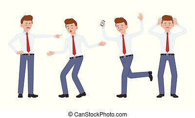Young office worker in formal wear shouting, pointing finger, surprised, upset, shocked. Cartoon character design of stressed man at work concept