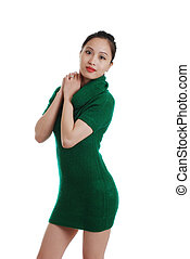 young oriental woman green dress