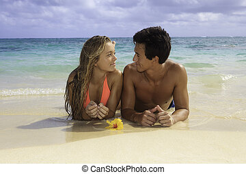 young párosít, a parton, alatt, hawaii