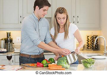 young párosít, főzés, együtt