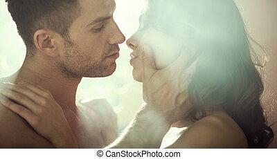 young párosít, közben, romantikus, este