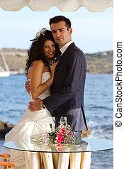 young párosít, után, a, esküvő