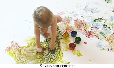 young painter - boy painter in the studio