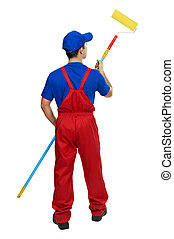 painter man in uniform with paint roller - Young painter man...