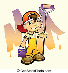 Young painter with roller - Vector illustration of a young...