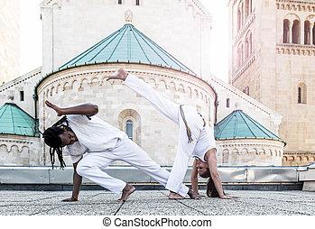 Young pair capoeira partnership ,spectacular sport